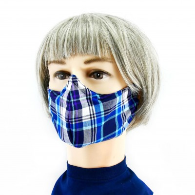 Cloth Face Mask  - Chequered dark/light blue