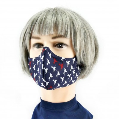 Cloth Face Mask  - Dark blue with birds