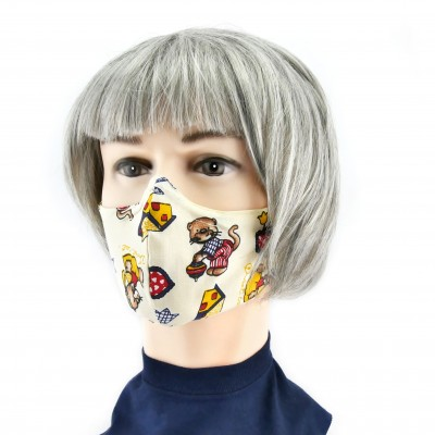 Cloth Face Mask  - Beige with bears